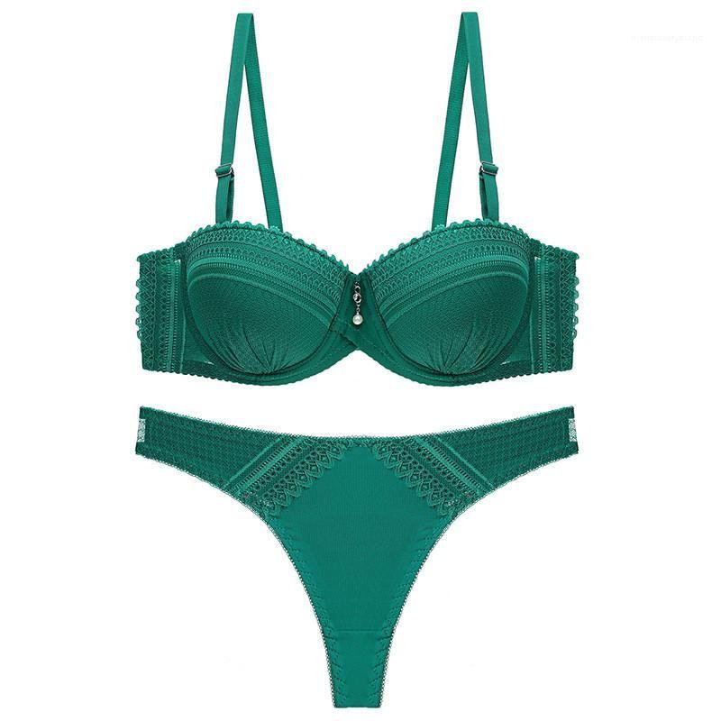 Push Up Bra 2pcs Womens finos conjuntos de roupa interior confortável Sexy cor sólida Bras Define Floral Lace Ajustado Strap