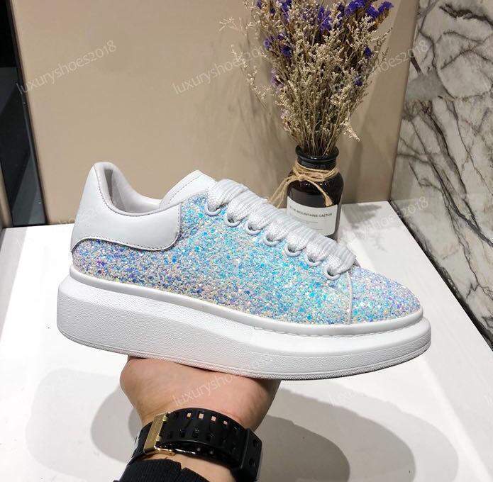 Дизайнерская роскошная платформа классическая Повседневная обувь Мужская женская обувь для скейтбординга кроссовки блеск Shinny Heelback Dress теннис chaussuresD09