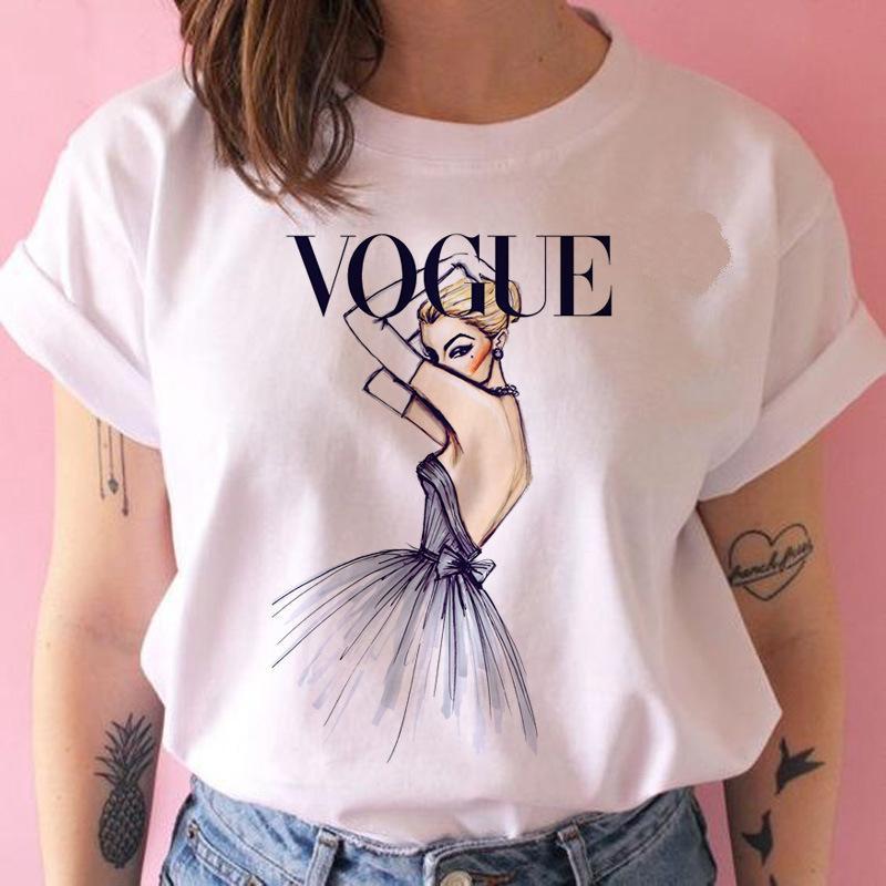 roupas de grife VOGUE Lady imprimir O Neck T Shirt Summer Fashion Women T-shirt engraçado camisetas Harajuku manga curta casuais T topos lovrly
