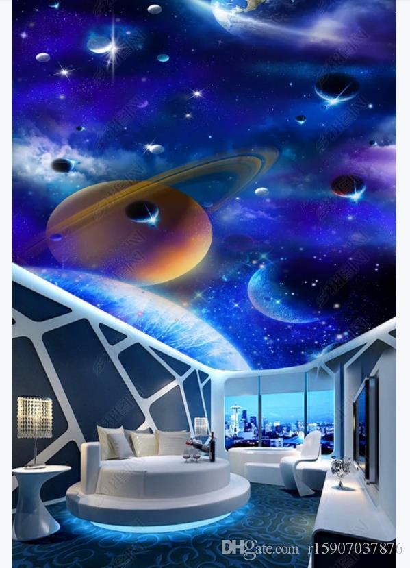 3D foto personalizado techo mural papel tapiz decoración interior Cielo estrellado HD Galaxy 3D sala de estar Zenith techo techo mural