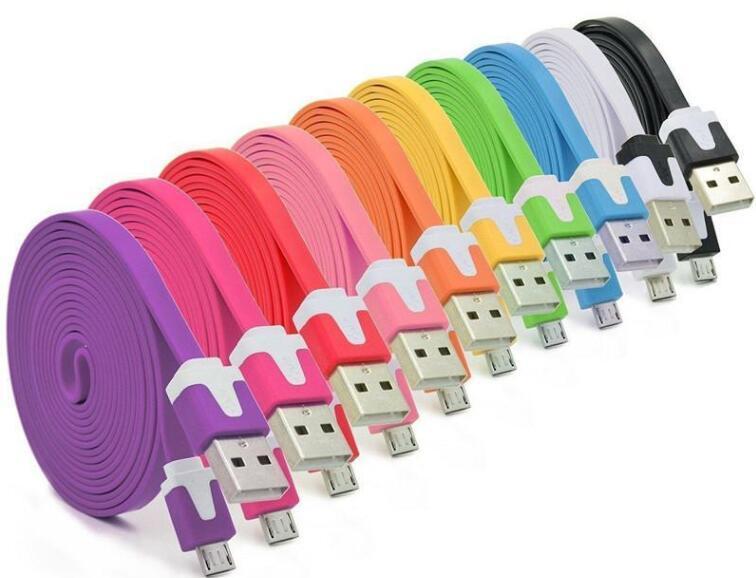 1M 2M coloré Noodle Micro USB plat Micro Câble USB Noodle coloré câble Sync Chargeur Câble pour Samsung HTC