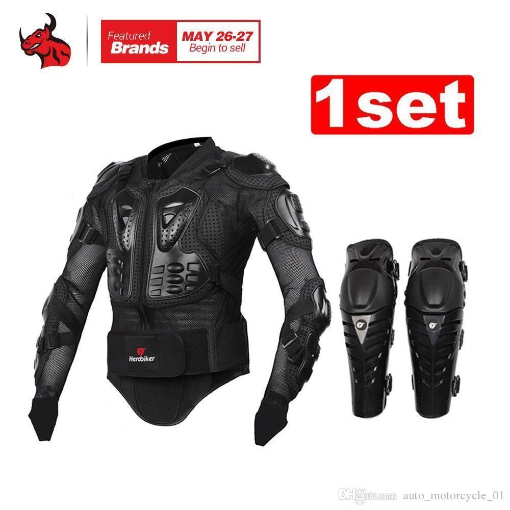 HEROBIKER мотоцикл бронежилет защитная куртка+ защитный мотоцикл наколенник комплекты костюмы мотокросс броня куртка