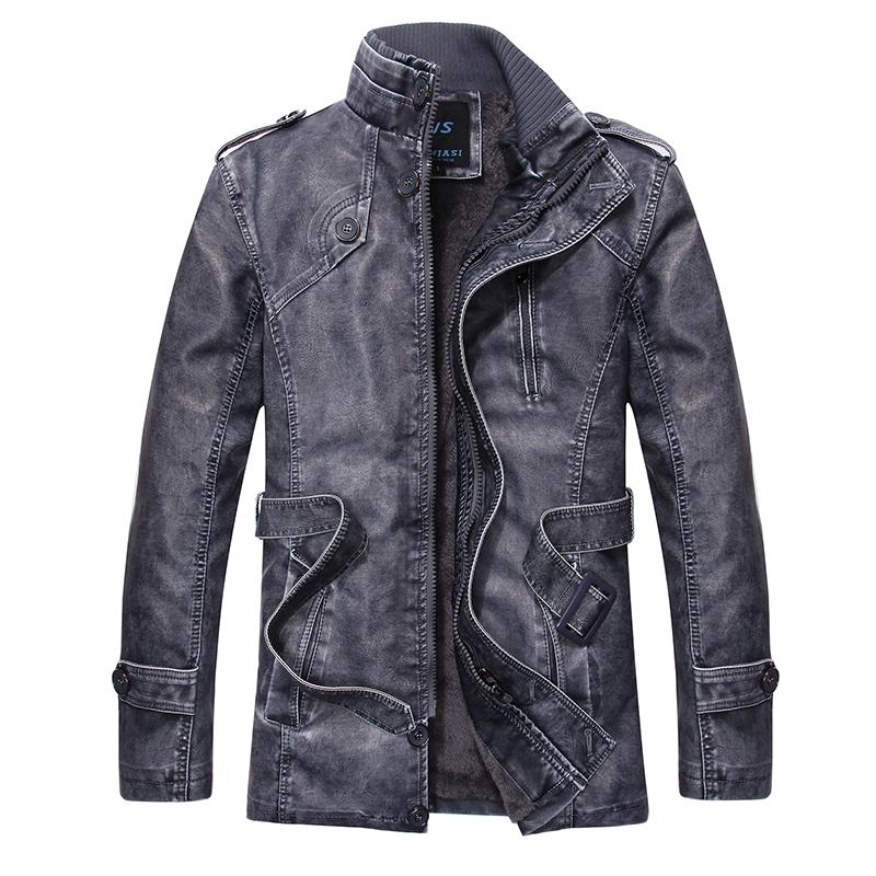 Faux Leather Jacket Men New Parkas Long Overcoat Cotton Winter Trench Stand Male Trench Coat Brand Mens Clothing Top Quality D13