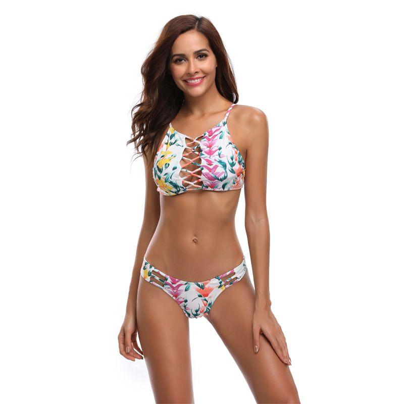 Cross Hollowing Out Swim Suit Sexy Backless Bikini de impresión Mujeres Dividir Cuerpo traje de baño Ajuste apretado Multicolor Popular 29hr C1