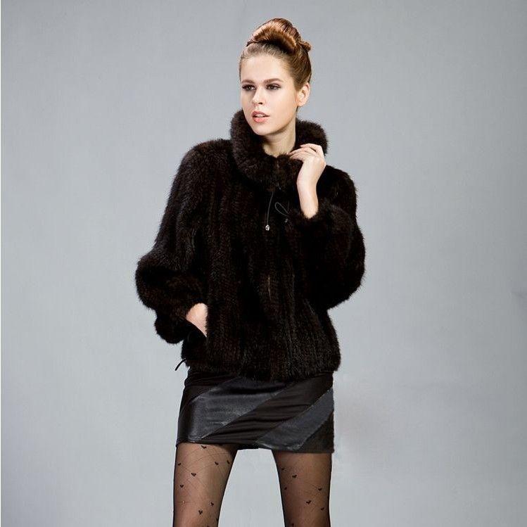 L'autunno e l'inverno vero genuino signore maglia giacca donne cappotto di maglia naturale moda outwear cappotto