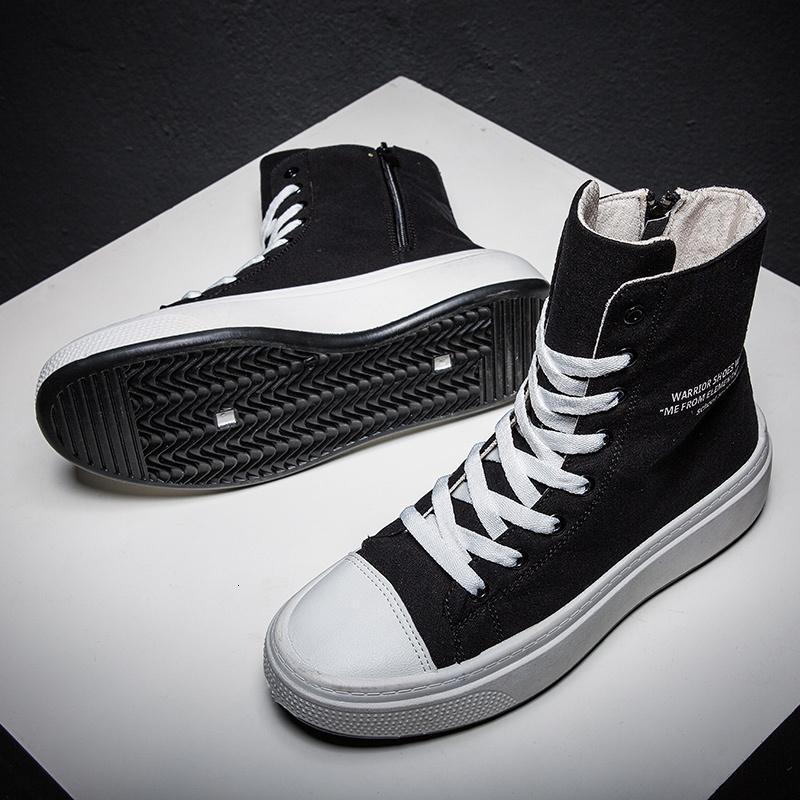 Зимние кроссовки Мужчины Холст Осень обувь высокого наверх Муж Марка Обувь мужская повседневная обувь Black High Top Холст Мужские кроссовки