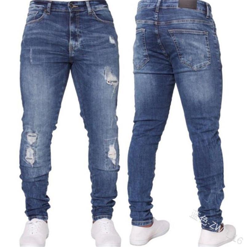 Mens Casual дизайнер джинсы Мода тонкий Середина талии Омывается Ripped Hole карандаш брюки Streetwear Новая мужская одежда