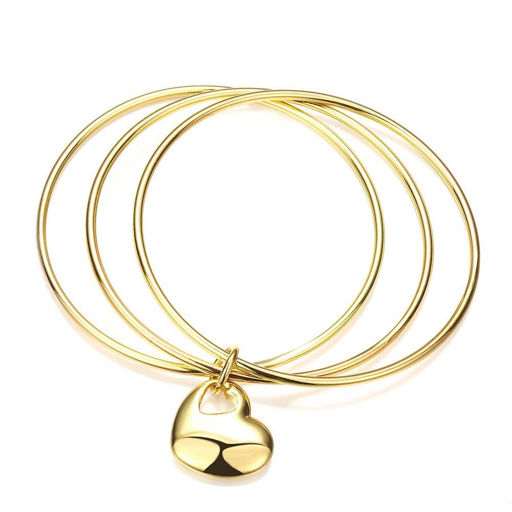 Brazalete de 3 piezas para mujer de estilo simple que no se puede abrir con corazón Pulsera de mujer lisa llena de oro amarillo de 18 quilates Joyería de moda
