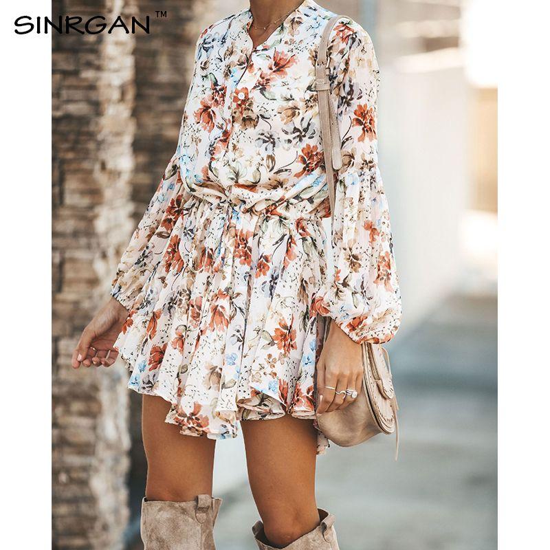 SINRGAN floral de las mujeres de los marcos camisa de vestir de playa de las mujeres suelta vestido de otoño coreana de corto 2020 de la cintura Steetwear T200623