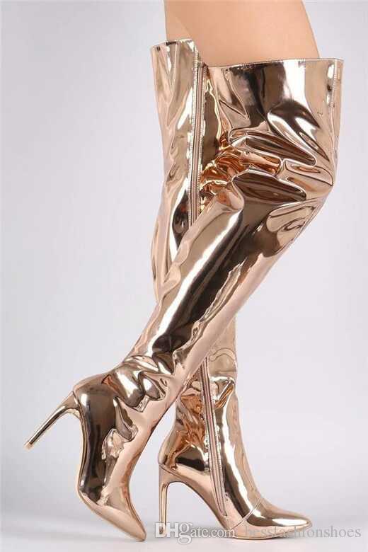 Goldsplitter Schwarz Kim Kardashian Stilettos Spiegel Leder Metallic Overknee-Stiefel Frauen Mode-Schenkel-hohe Booties Größe 42 43