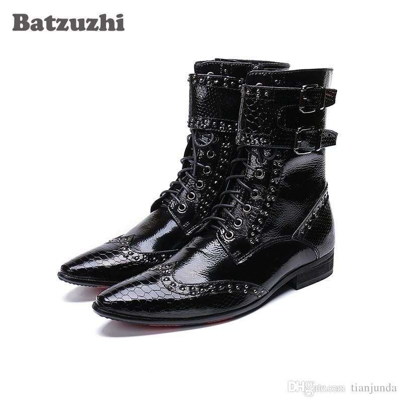 Batzuzhi Stivali in pelle moda uomo punta a punta militare botas hombre Uomini coreano abito nero stivaletti fibbie uomo, grande US6-12
