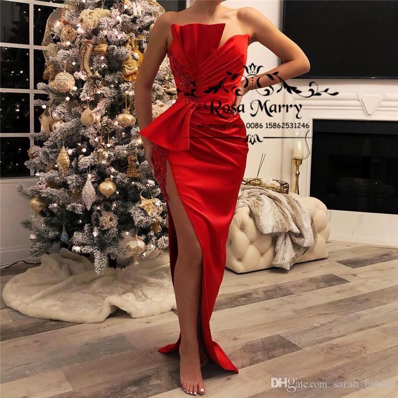 Seksi Kırmızı Artı boyutu Ucuz Abiye 2020 Kılıf Yüksek Bölünmüş Vintage Dantel Arapça Tasarım Formal Elbise Akşam Parti Elbiseleri
