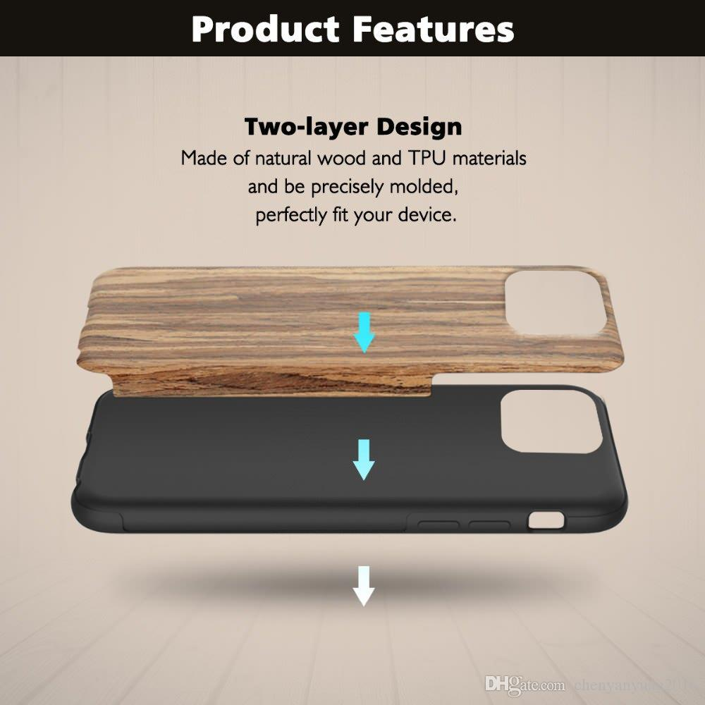 Case for Iphone 11 Pro Xs Max Apple Wood Grain Flexible TPU Silicone Hybrid Slim Cover Coque