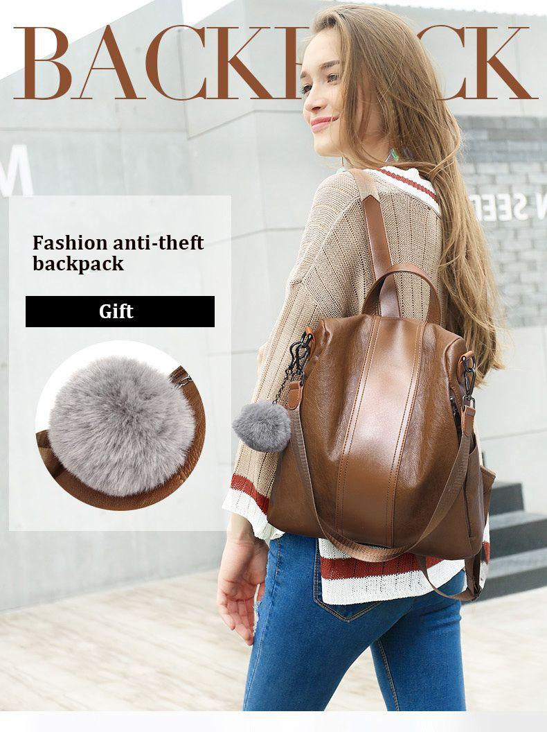 mochila mochila feminina feminina ocasional Multifunction Mulheres Leather Backpack feminina Shoulder Bag Sac A Dos viagem Back Pack