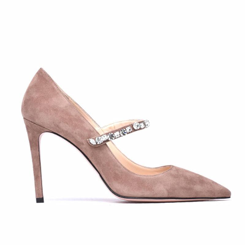 Sıcak Satış-Katı Süet Rhinestones Kayış Sivri Burun Kadınlar Stilettos Kanca Döngü Tasarım Moda Bayanlar Yüksek Topuklu Pompalar Jane ...