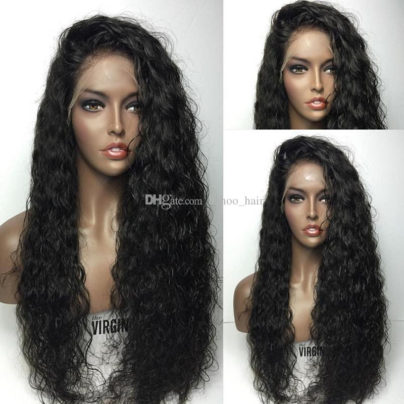 Glueless Lace Front Echthaar Perücken Für Schwarze Frauen Natürlicher Haarstrich Peruanische Wasserwelle Volle Spitzeperücken 150% Dichte