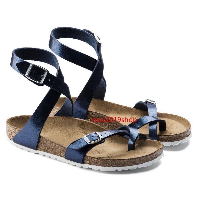 Sıcak Moda Yeni Stil Tasarımcı Marka Arizona Erkekler Düz Topuk Sandalet Kadınlar Multaicolor Yaz Günlük Ayakkabılar Toka Üst Kalite Gerçek Deri
