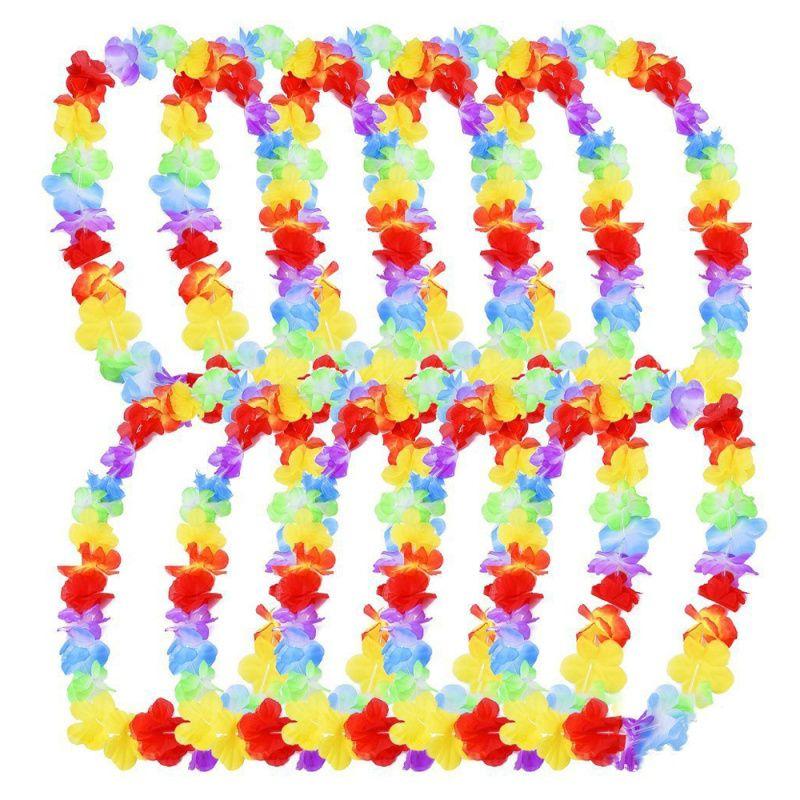 1/5/10 Pcs hawaïenne Leis Garland artificielle Collier Hawaï Fleurs Leis Fun Beach Party Supplies Couronne bricolage Décoration cadeau