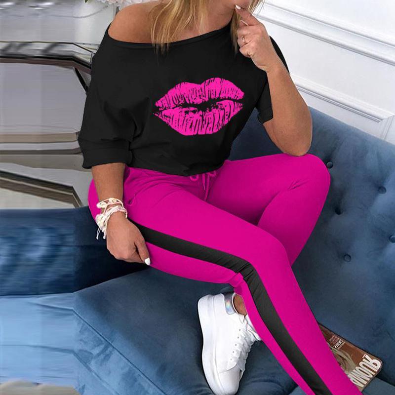 Omuz Tişört ve Çizgili Pantolon kapalı Kadın Yaz Suit İki Adet Set Kadınlar 2020 Sonbahar Kostümler Streetwear Eşofmanlar Kadın T200702