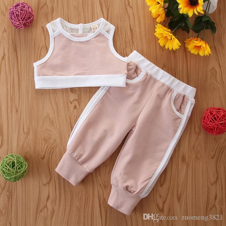 Moda Çocuk Bebek Kız Casual Giyim Kolsuz Crop Top Harlem Pantolon Elastik Tozluklar Spor Kıyafetler 2019 Yaz Yeni
