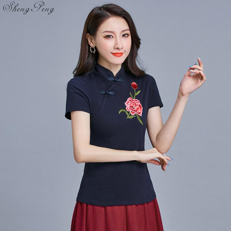 Chinês elegante Mulheres Cheongsam Tops bordado impresso Qipao Tops tradicional clássico manga curta Qipao Blusa V1449