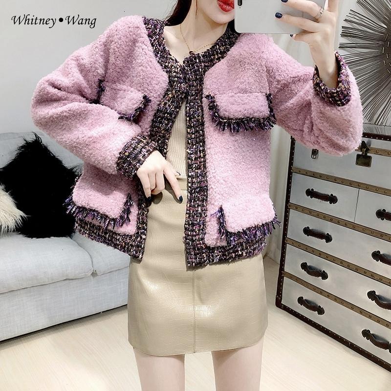 Уитни Ван 2019 Осень Зима мода уличная твид Эдинг лоскутное искусственного ягнят шерстяная куртка женщин зимнее пальто и пиджаки T191108