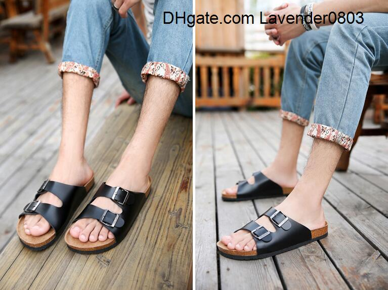 New Summer Beach Cork Slippers Sandals Casual Double Buckle Clogs Sandalias Men Women Slip on Flip Flops Flats Shoe