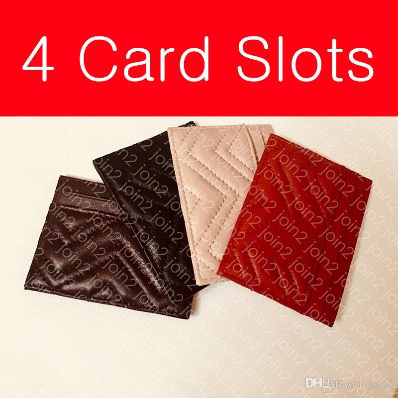 Marmont بطاقة حالة 443127 مصمم أزياء المرأة عملة بطاقة مفتاح الحقيبة حامل البسيطة المنظم محفظة جلدية 4 فتحات بطاقة شيفرون تصميم مربع