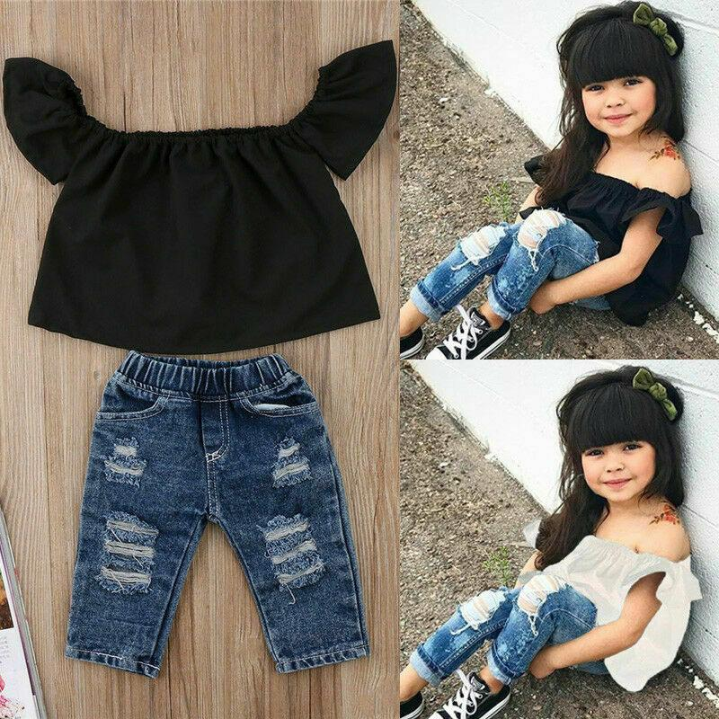 Summer Toddler Baby Girl Clothes Set Solid Off shoulder 2pcs Tops Vest+Hole Jeans Outfits Casual Clothes 0-4Y Girls Baby Fashion