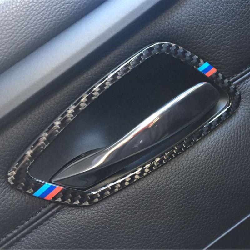 4 قطع ألياف الكربون سيارة الداخلية الباب مقبض غطاء تقليم الباب السلطانية ملصقات الديكور ل bmw e90 3 سلسلة 2005-2012 الملحقات