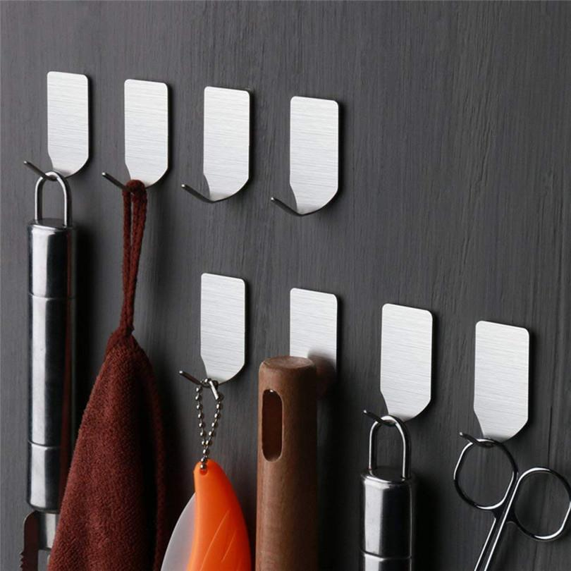 Kancalar askıda için Duvar Anahtar Askı 8pcs Kendinden yapışkanlı Ev Mutfak Duvar Kapı Paslanmaz Çelik Tutucu Kanca Askı # 4M29