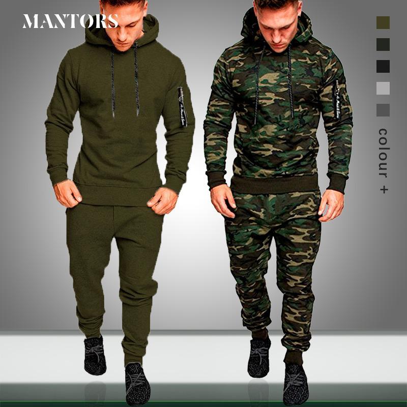 Erkek Yeni Casual Jogger Eşofman Erkekler Kazak Spor Seti Spor Fermuar Slim Fit Erkek Spor Suit T200615 Running Kamuflaj Sonbahar ayarlar