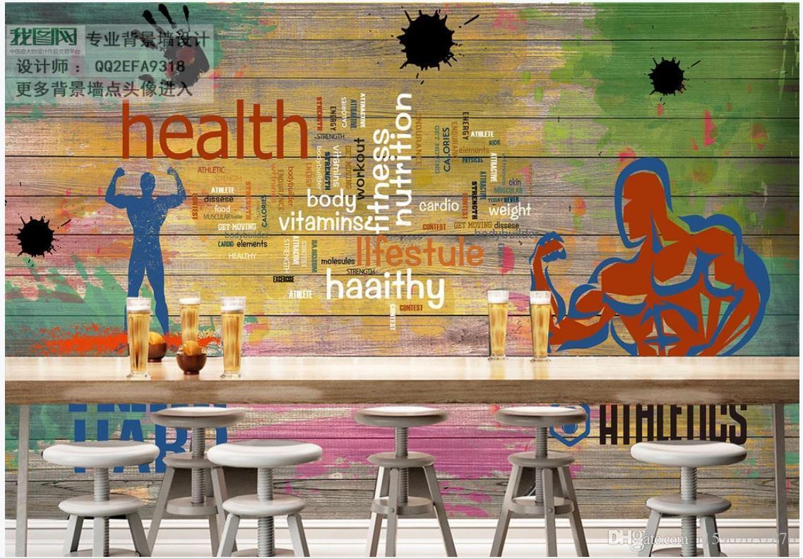 Custom Mural Wallpaper 3d Gym Murals Wooden Board Graffiti Sports Fitness Club Image Wall Background Decoration Widescreen Desktop Wallpaper