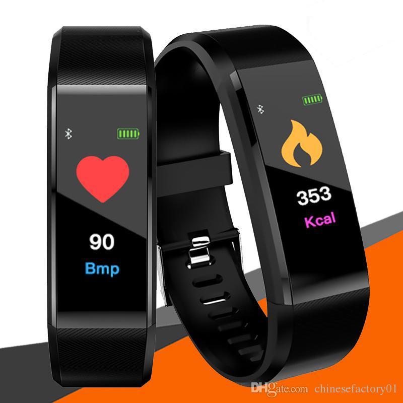 Fitbit ID115 Plus Pulseira Inteligente Rastreador De Fitness Pedômetro Banda de Relógio Monitor de Freqüência Cardíaca de Pressão Arterial Inteligente Pulseira