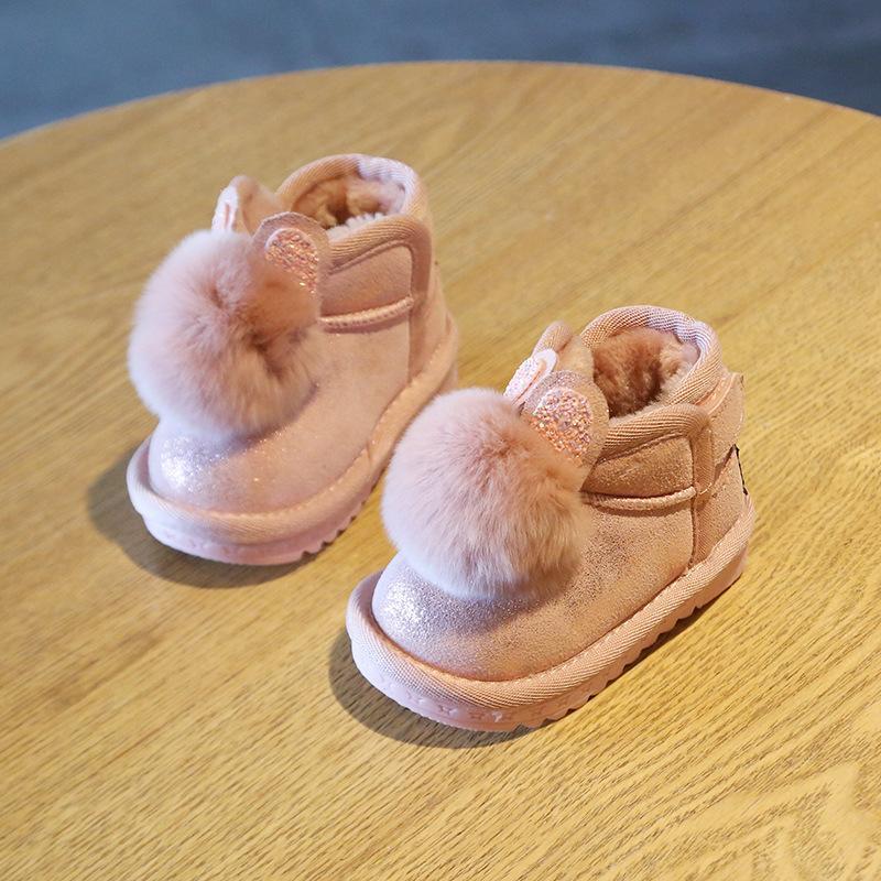 Детские ботинки снега Девушка Зима 1-2 лет Детские Теплых малыши Обувь зима Мягкая донные Детская обувь