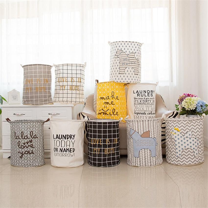 Large 40*50cm Folding Dirty Clothes Washing Laundry Basket Cartoon Storage Barrel For Baby Toys Sundries Room Organizer Bag C19041701