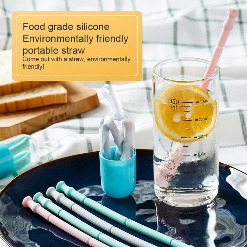 Портативные перемещенные по многоразовым баром силиконовые напитки на открытом воздухе с чистящим чехол соломинки, несущие инструмент кисть складной питья и QKDBN