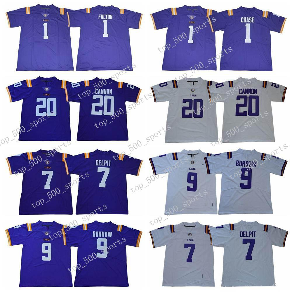 2020 LSU 호랑이 전설 20 빌리 캐논 1 크리스티안 풀턴 1 JA'Marr Chase 9 Joe Burrow 7 Grant Delpit College Football Jerseys KK