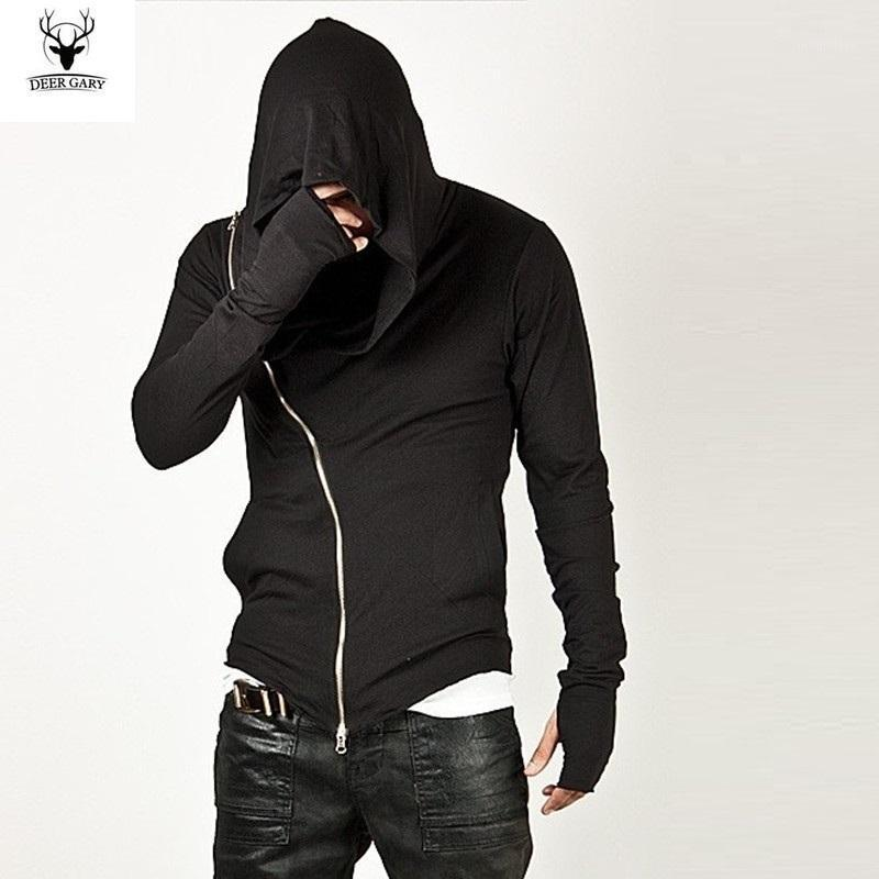Moda al por mayor de los hombres de ropa deportiva-2016 Marca caliente Diagonal cremallera para hombre Assassin Creed Diseño sudadera con capucha de moda para los hombres de deporte