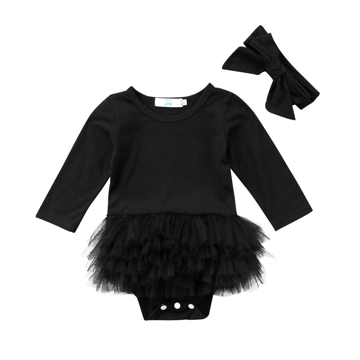 Nouveau-né bébé Romper Jumpsuit Bodysuit Vêtements Bandeau Outfit Ensembles Noir