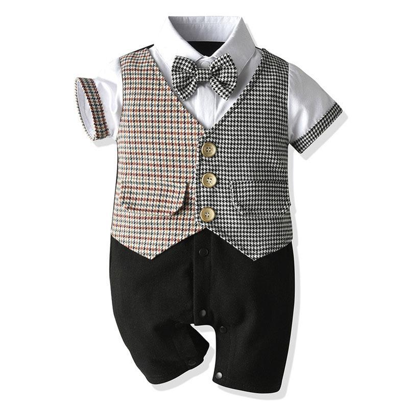 Ins Verão bebê algodão romper meninos cavalheiro romper infantil romper recém-nascido Macacão Meninos One Piece roupas roupa do bebé B849 varejo