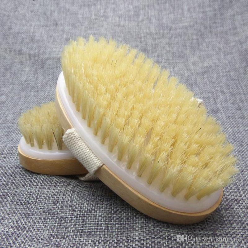 Body Dry Brush Natural Boar Bristle Organic Dry Skin Body Brush Bamboo Wet Back Shower Brushes Exfoliating Bathing Brush F2966