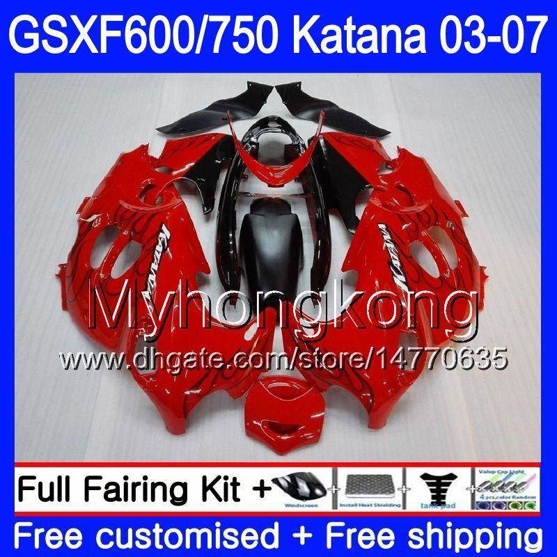 GSX600F For SUZUKI GSXF 600 750 GSXF600 Glossy red black 2003 2004 2005 2006 2007 293HM.16 GSXF-750 KATANA GSXF750 03 04 05 06 07 Fairings