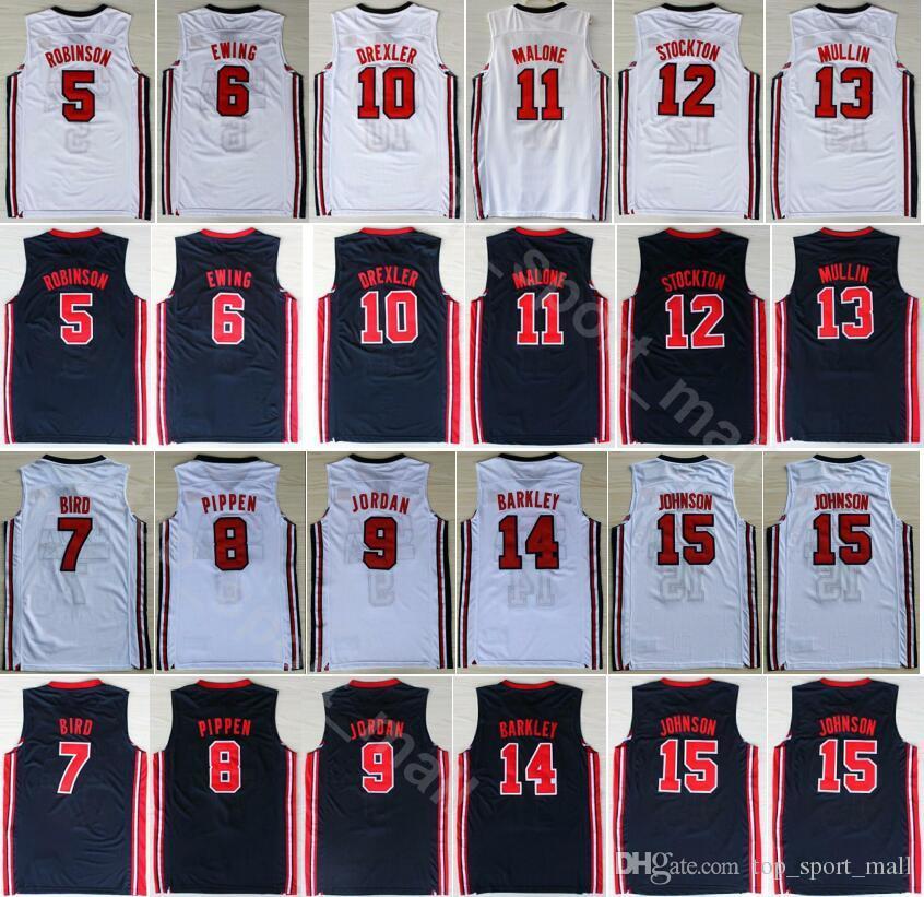 Dream Team One 1992 camisetas de baloncesto 7 Larry Bird 14 Charles Barkley 6 Patrick Ewing 8 Scottie Pippen Clyde Drexler Azul Blanco
