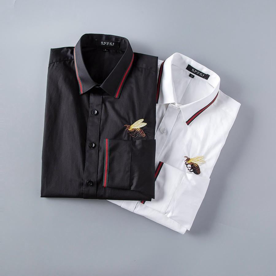 Männer Luxus Hemden arbeiten Bees gesticktes lange Hülsen-Kleid-Shirts Marken-klassische Turn Down Neck Geschäft Tops135