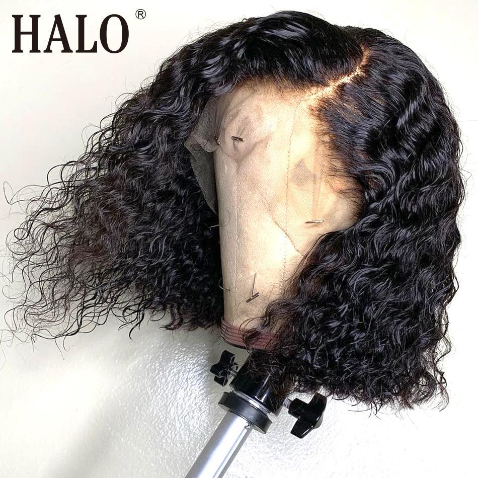 Court Bob Curly Lace Front Perruques de cheveux humains pour les femmes noires Deep Wave perruques frontales pré plumés ondulé 4x4 fermeture perruque livraison gratuite Y190713
