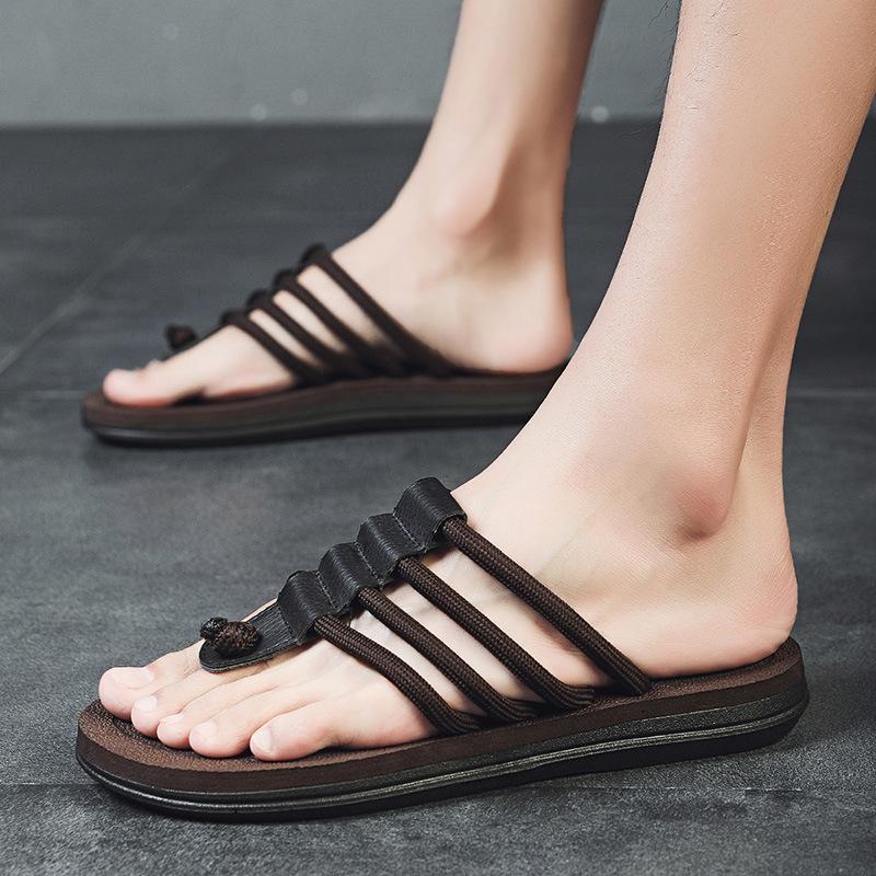 2020 verano de los hombres las sandalias del deslizador de interior al aire libre flip-flops zapatos de la playa de los nuevos hombres ocasionales de la manera de la flor del deslizador Chanclas