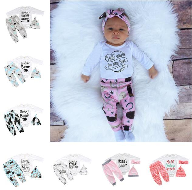 3pcs Newborn Kids Baby Boys Girls Romper Coming Home Outfits Clothing Set