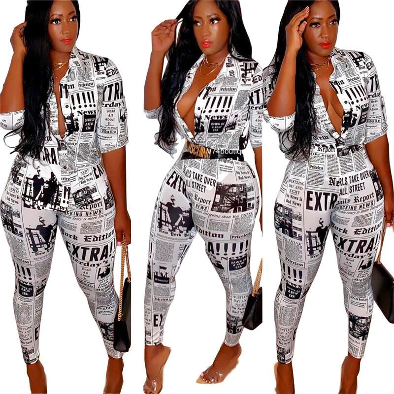 Newspaper Print Women Outfit 3/4 Sleeve T Shirt Tops + Pencil Pants Leggings 2 Piece Set Vintage Fashion Blouse Tracksuit Clothes Suit New