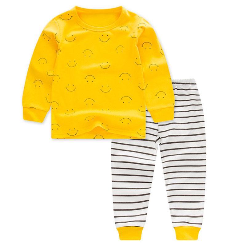 Automne Printemps Pyjamas d'enfants Ensembles bébé fille Vêtements bébé garçon Pyjama de nuit à manches longues pour enfants T-shirt + pantalon filles Pijamas